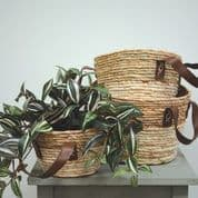 Set of 3 Seagrass Baskets with leather effect handles