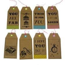 Set of 8, 'Screen Printed' Style Christmas Gift Tags