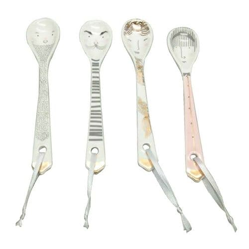 Set of Four Ceramic Ladies & Gents Teaspoons