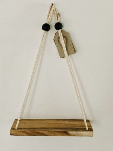 Small Rustic Wooden Hanging Shelf, Cream Cord