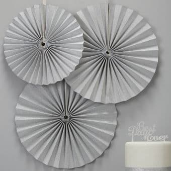 Sparkly Silver Circle Fan Decorations, Set of 3