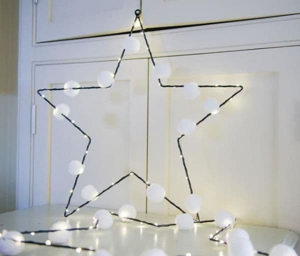 White Pom Pom Light Up Star Decoration