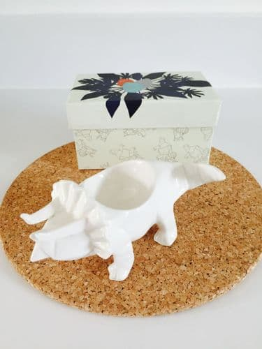 White Triceratops Origami Dinosaur Egg Cup