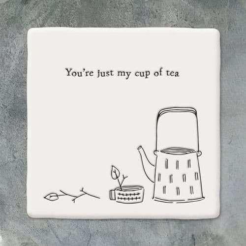 Wobbly Square Porcelain Coaster, 'You're Just my Cup of Tea' East of India