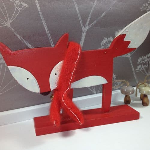 Wooden Mr Fox with Scarf