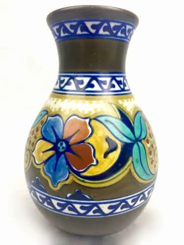 Antique Gouda Pottery Vase / 1925 Art Deco / Blue / Brown / Yellow / Dutch