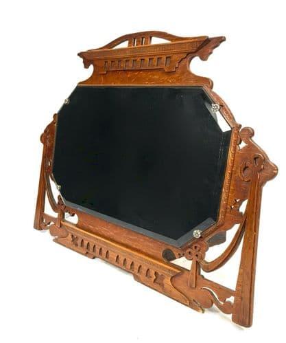 Antique Large Wooden Oak Over Mantle Place Mirror / Arts & Crafts / Fire Place