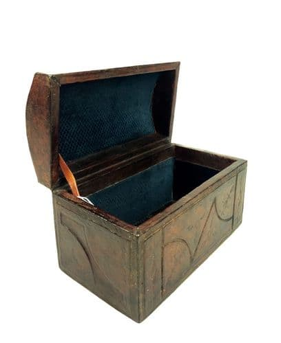 Antique Leather Bound Stationary Box / Desk Top Tidy / Collectors Storage