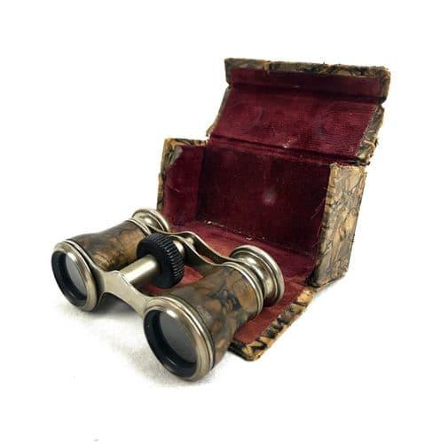 Antique Leather Handled Opera Glasses / Art Deco Binoculars / Case / Box