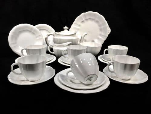 Antique Royal Crown Derby - Surrey White Utility Ware Tea Set for 6 People c1945