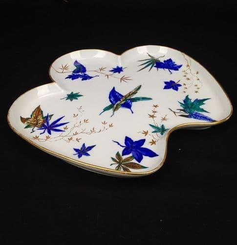 Antique Royal Worcester Cabaret Tea Tray / Blue Leaf Design / Large / Victorian