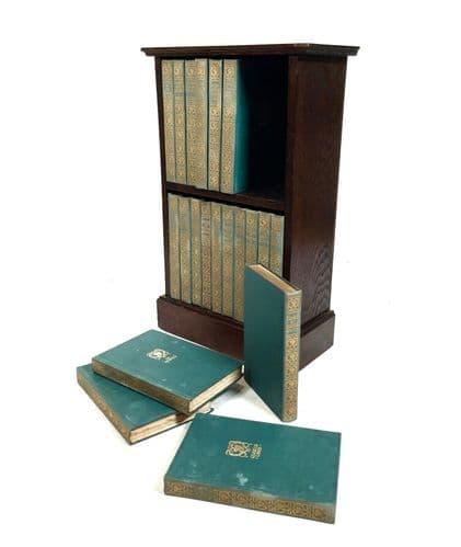Antique Set of 20 Books by The Gresham Publishing Company on Oak Bookcase Shelf