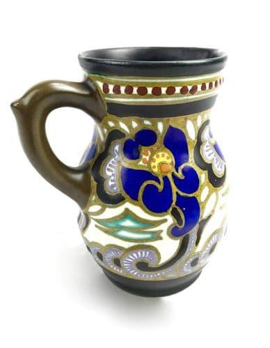 Art Deco Antique Gouda Pottery Jug / Vase / Pitcher / Blue Purple Brown / 1927
