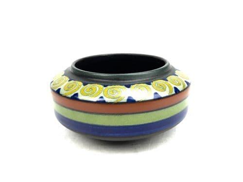 Gouda Pottery Bowl / Pot / Vase / Orange Blue Yellow / Art Deco 1920s