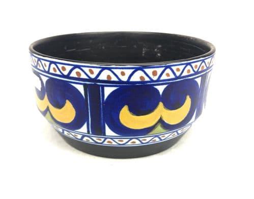Gouda Pottery Bowl / Vase / Centre Piece / Art Deco 1920's / Blue / Yellow
