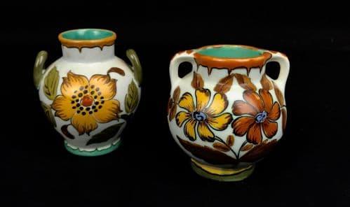 Gouda Pottery Double Handled Jug Pair Cream / 1950's Dutch / Yellow / Orange