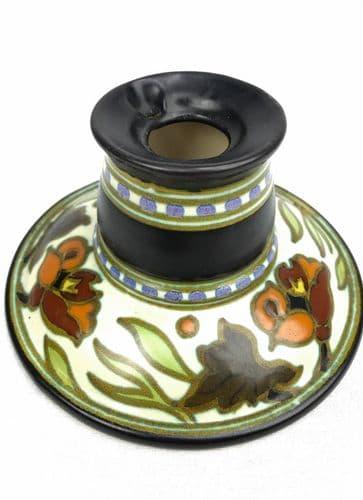Gouda Pottery Inkwell / Vase / Pot  Art Deco 1920's / Brown / Orange / Cream