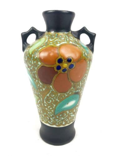 Gouda Pottery Vase / Art Deco / Dutch / Twin Handled / Brown / Orange / Green