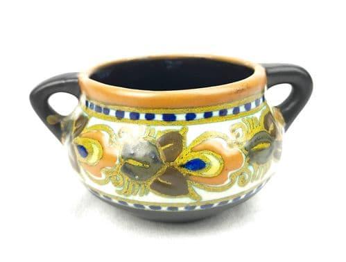 Gouda Pottery Vase / Jug Art Deco 1925 / Dutch / Orange / Blue / Brown - 222868158952