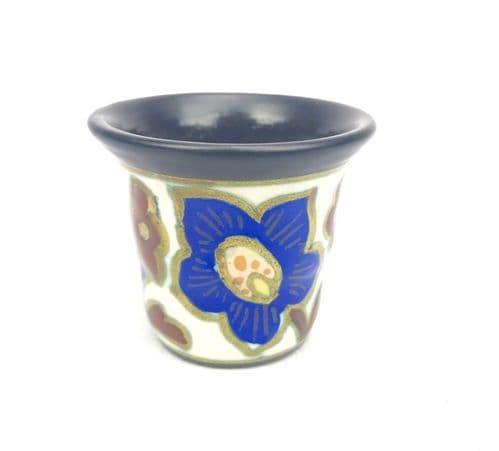 Gouda Pottery Vase / Pot / Art Deco Style / Blue / Brown / Cream / Vintage