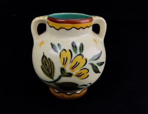 Gouda Pottery Vase / Pot / Double Handled 1950's Vintage / Cream / Yellow