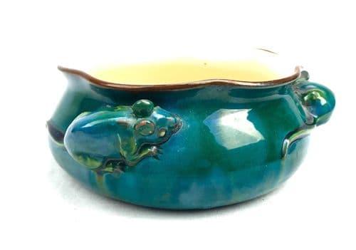 Longpark Devon / Torquay Ware Pottery Bowl / Blue / Mouse / Mice Detail RARE