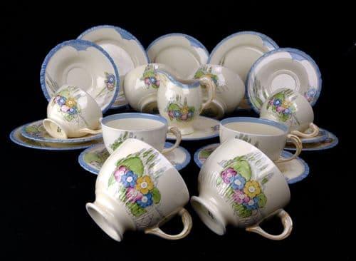 Newhall Hanley Tea Set / Afternoon Tea / 1930's Art Deco Diana Shape / Rare