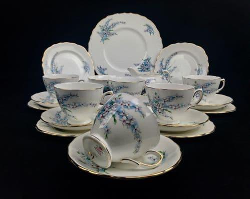 Royal Osborne Vintage Tea Set Blue / White / Floral / 8203 / Trio / Cup