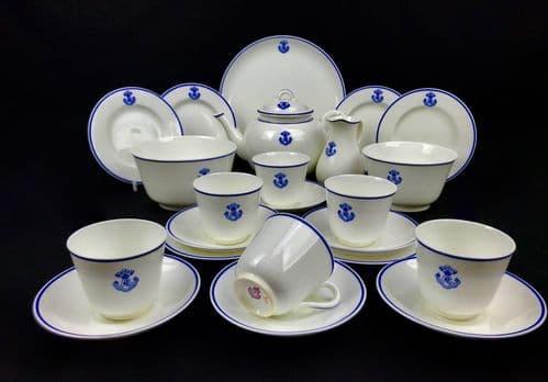 Royal Worcester Tea Set / WW1 / Royal Engineers Crest / Blue & White / RARE 1918