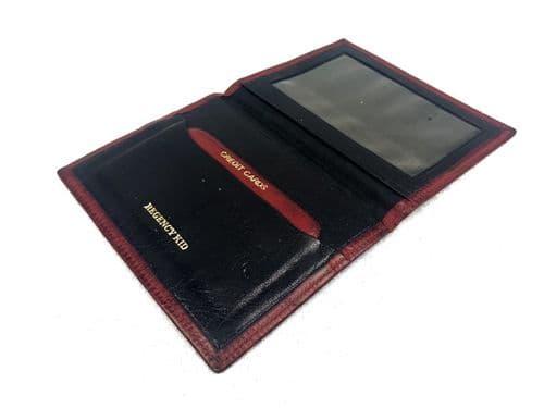 """Vintage Gentleman's Leather Wallet Marked 'Regency Kid"""" / London / Red"""