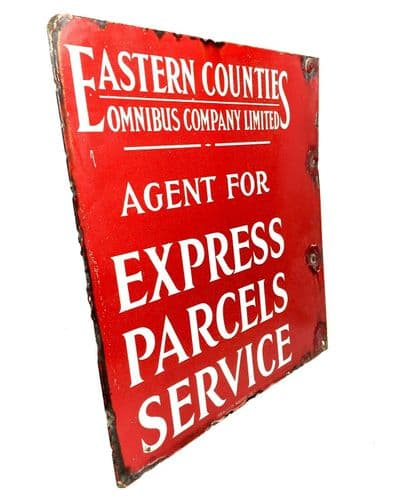 Vintage Large Enamel Advertising Sign For Eastern Counties Omnibus / Antique