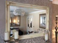 "Cream / Ivory Shabby Chic Mirror 3"" Wide Frame FREE P&P"