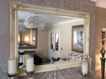 Large Cream Ivory Swept Shabby Chic Mirror - 42inch x 30inch - 107cm x 76cm NEW