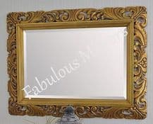 """X Large 48"""" x 36"""" LG French Carved Decorative Bevelled Mirror - 6.5"""" Wide Frame"""