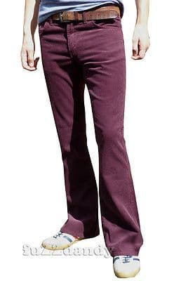 """Cochise"" BOOTCUT CORDS - Boot Cut purple Corduroy Trousers (BURGUNDY RED)"
