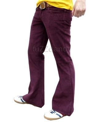 Classic Cord Flare - Corduroy Purple Bell Bottom Flares (BURGUNDY RED)