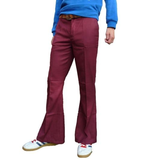 Classic Dress Flares - Mens  Bell Bottoms Hippie Pants Trousers - Burgundy Red Wine