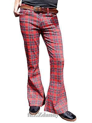 Classic PATTERNED Flares - Bell Bottom Flared Trousers (RED TARTAN)