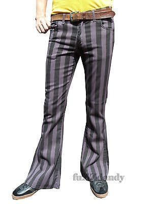 Classic PATTERNED Flares - Stripey Bell Bottom Flared Trousers (GREY & BLACK STRIPES)