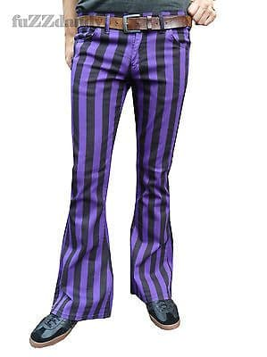 Classic PATTERNED Flares - Stripey Bell Bottom Flared Trousers (PURPLE & BLACK STRIPES)