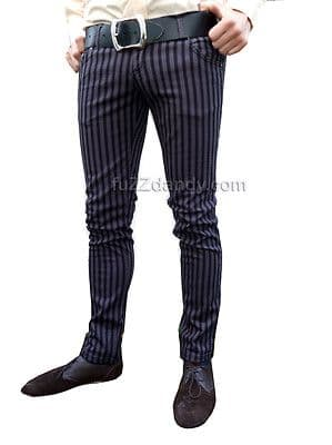 Ronnie - Pinstripe Drainpipes Trousers (Grey & Black)