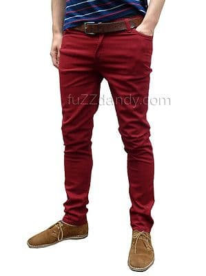Ronnie - Skinny Jeans (Burgundy Red)