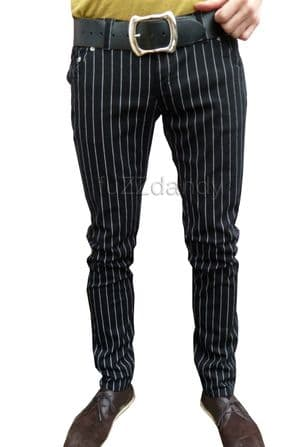 Ronnie - Striped Pinstripe Drainpipes Trousers (black)