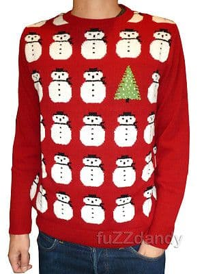 "Snowman - Superior Quality Italian Yarn Christmas Tree Snowman Jumper (Red) ""Made in England"""