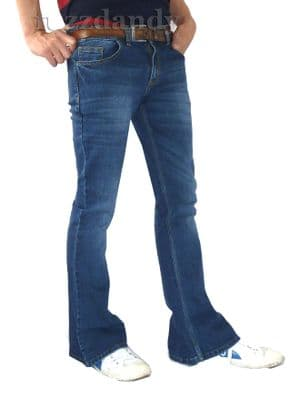 STRETCH Narrow Flares - Denim Stonewash Faded Stretchy Jeans Pants - Distressed Stonewashed