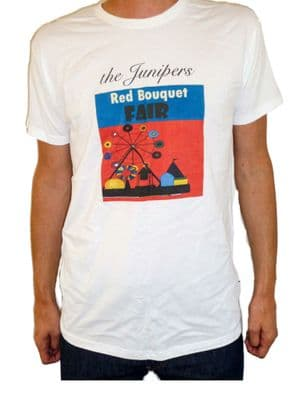 The Junipers - Band T Shirt - Red Bouquet Fair - White