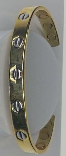 Alloy Magnetic Bangle (Regular size approx 16 cm + gap) 6 rare earth magnets in Classy Design