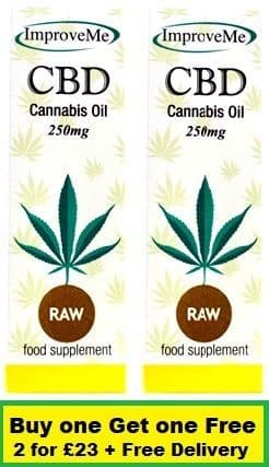 CBD Oil 250mg (2.5%) 10ml x 2 (Raw Oil - Stronger Taste) (Improve Me) Special Offer + Free Delivery