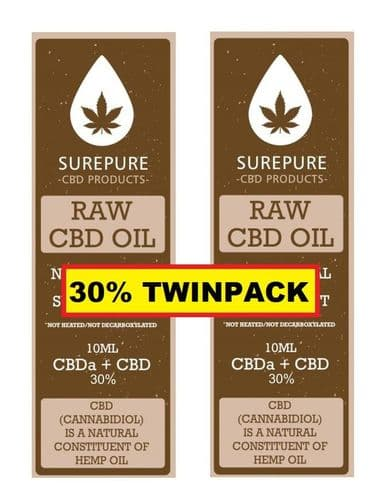 CBD Oil 30% (3000mg) 10ml Surepure TWINPACK with Free Delivery