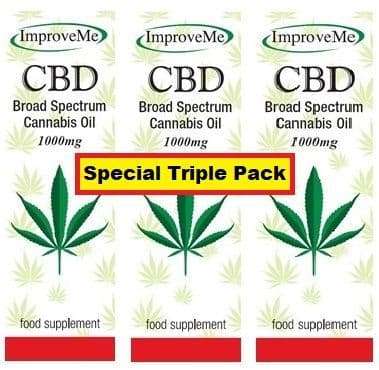 Improve Me Cbd Oil 1000mg - 10% - Broad Spectrum Cannabis Oil - Light tasting - Triple Pack